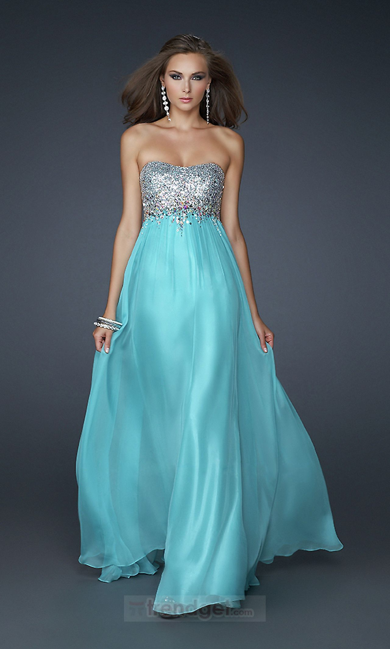Images of Blue Strapless Prom Dress - Reikian