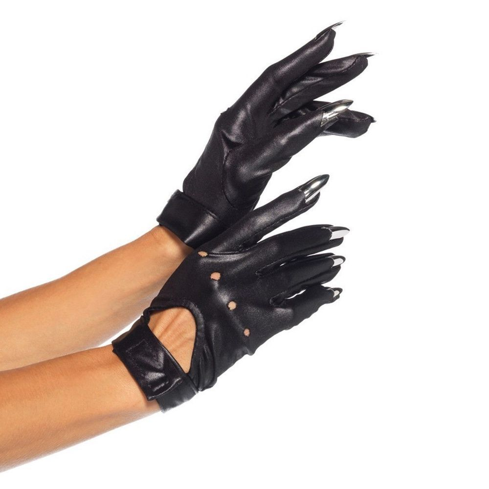 Motorcycle gloves distributor - Adult Bad Girl Black Motorcycle Claw Gloves Halloween Accessory Fancy Dress