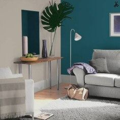 Perfectly taupe with teal tension feature wall my house for Colors that go well with taupe walls