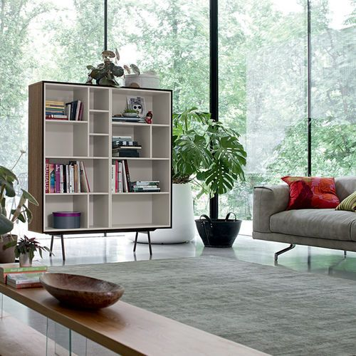 Contemporary bookcase lacquered wood glass code 7 dall for Industria mobili