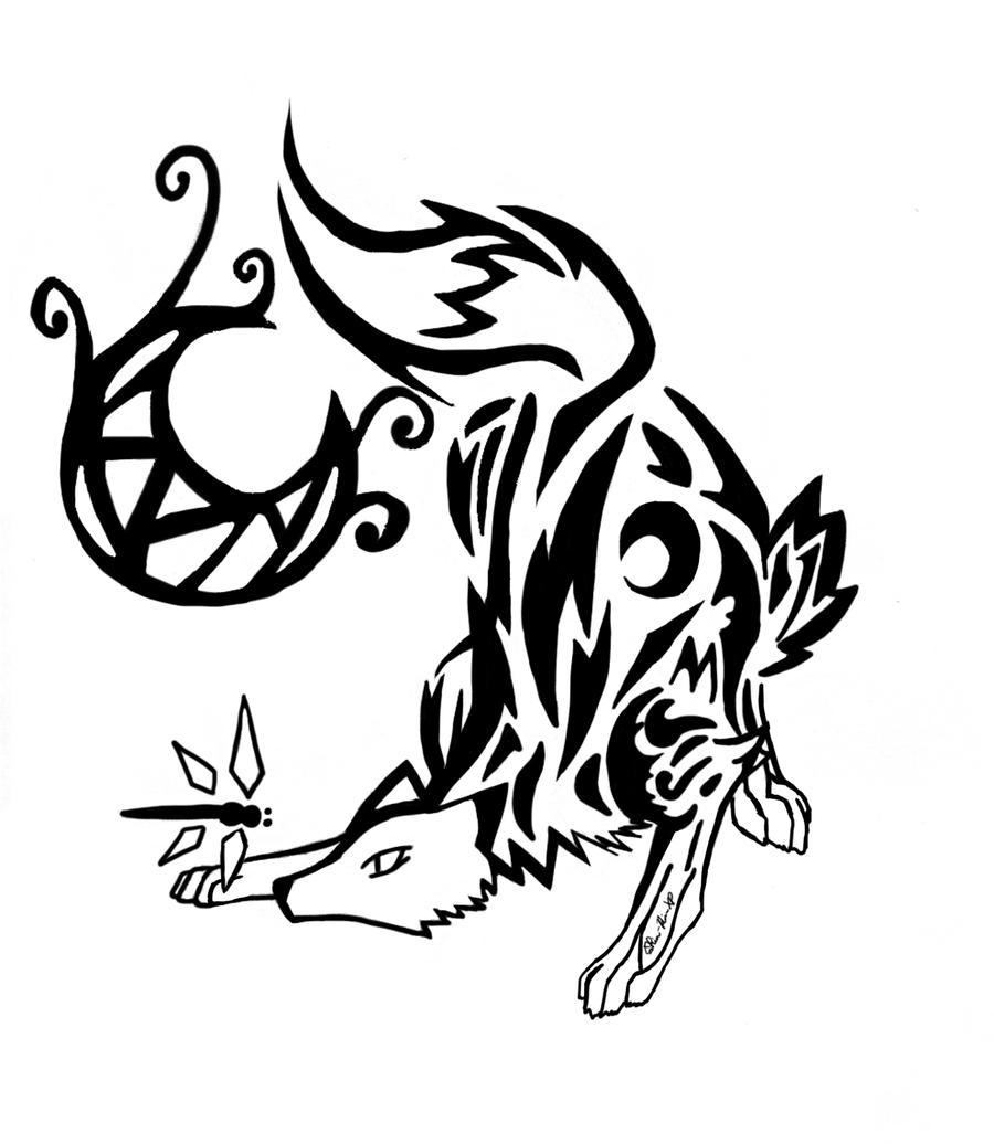 Tribal Art Moon Fox And Dragonfly By Rinrinrevolutionxp Deviantart Com On Deviantart Tribal Art Celtic Tattoos Tribal Tattoos