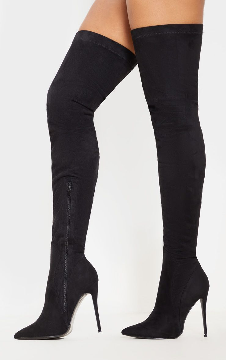7505a99acf3 Emmi Black Faux Suede Extreme Thigh High Heeled Boots in 2019 ...