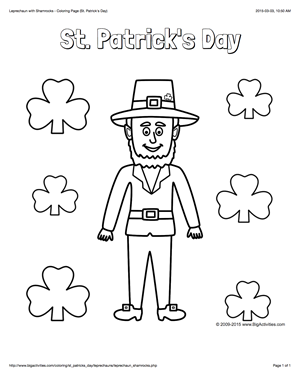 St Patrick S Day Coloring Page With A Leprechaun And Shamrocks To Color Leprechaun Coloring Pages Patrick
