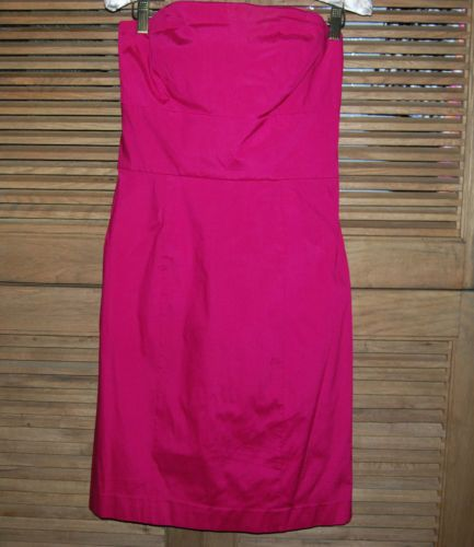 Ann Taylor Bright Pink Silk Blend Strapless Dress Size 4 Excellent Condition