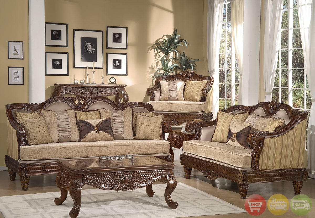 Formal luxury sofa set traditional living room furniture hd386 cherry