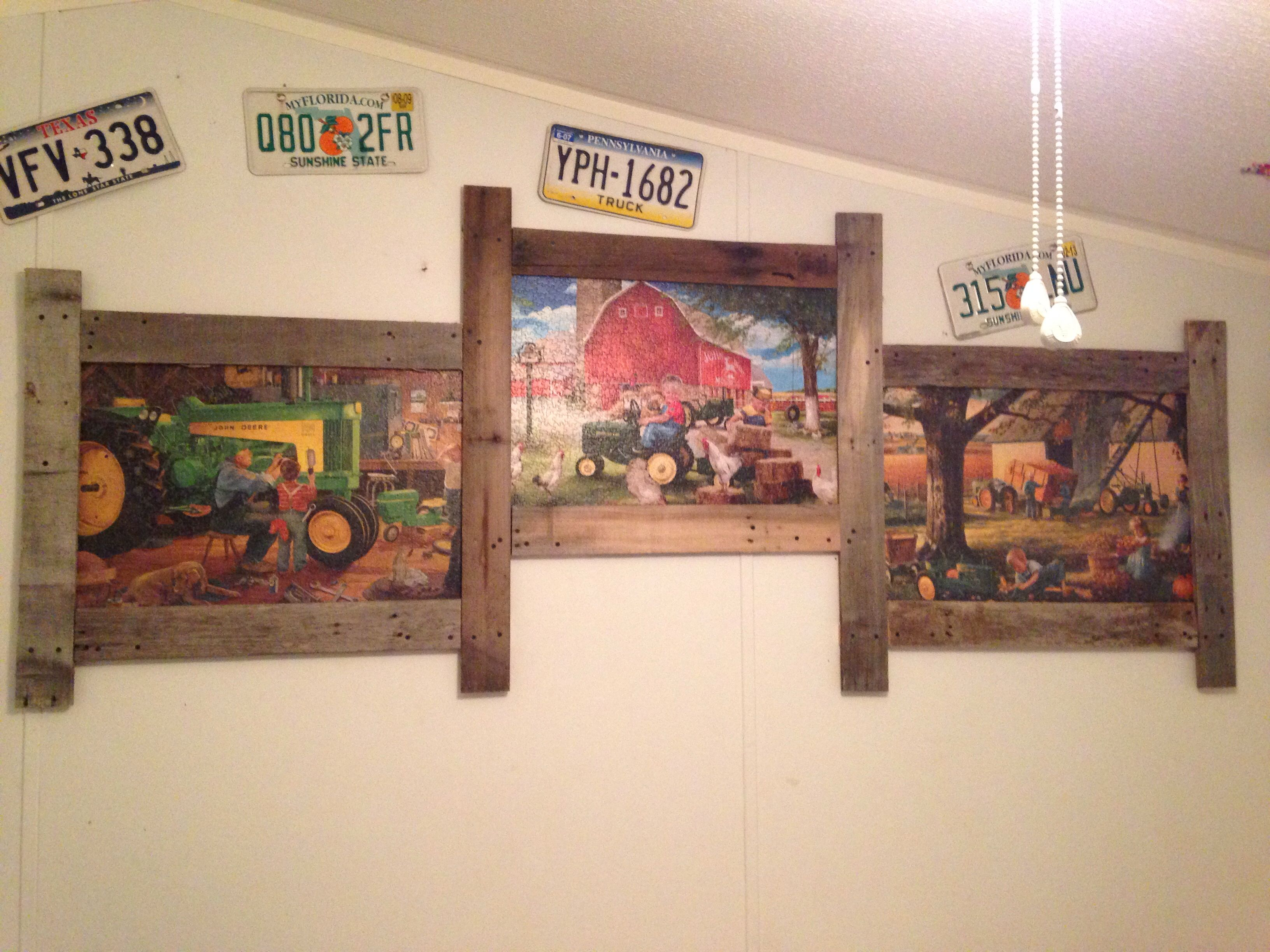 We Glued Three Puzzles Together For Framing And Used Weathered Pallets For Frame Puzzle Frame Wall Decor Crafts Puzzle Crafts