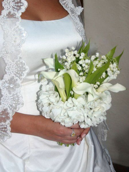 Wedding bouquet of lilies of the valley photo