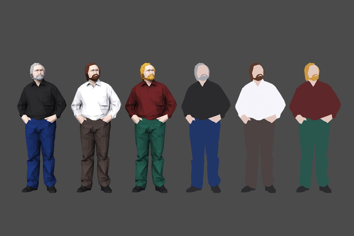 complete colored lowpoly standing people 3d model low-poly max obj