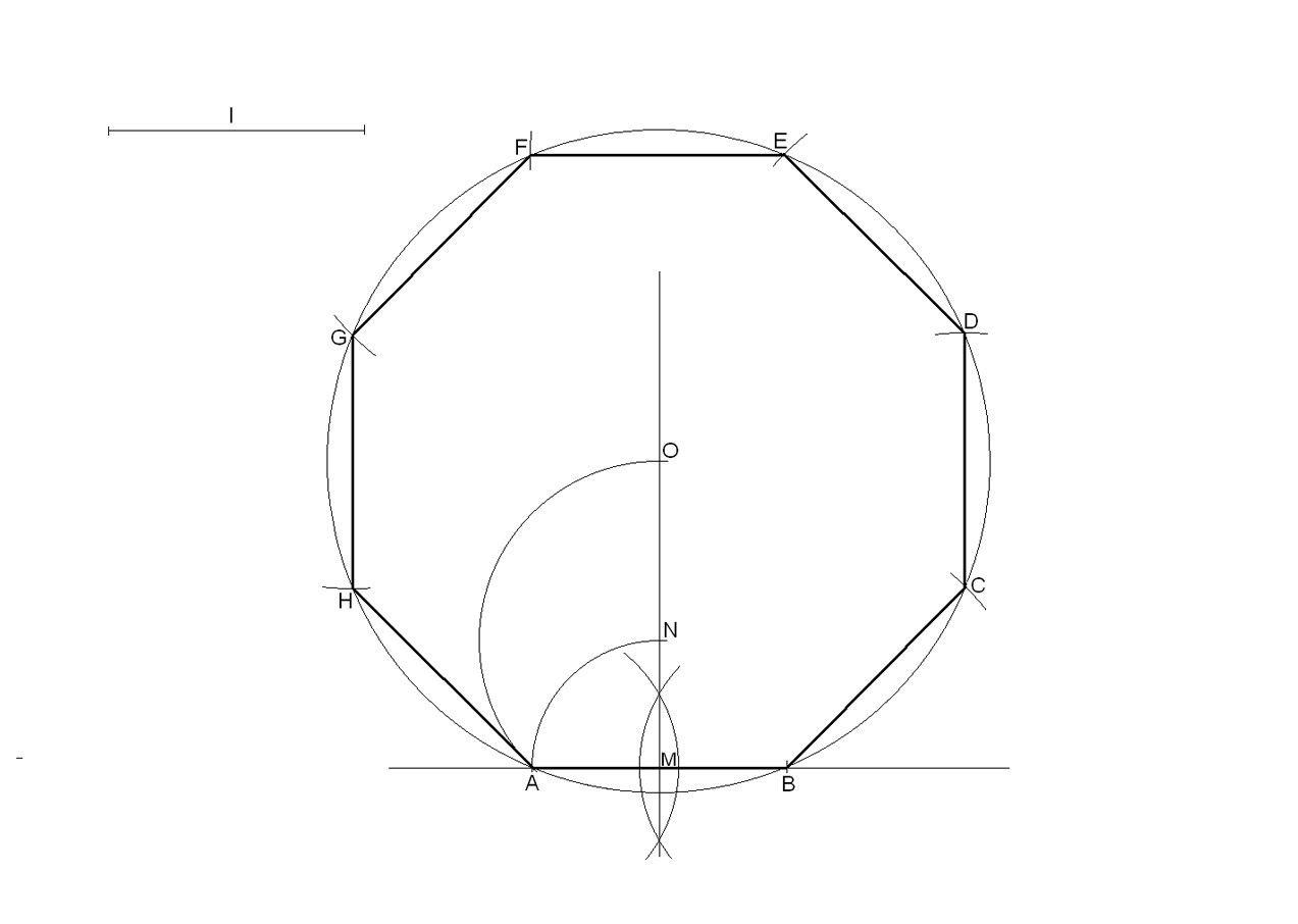 Octógono Regular Dado El Lado Geometría Plana Geometría Técnicas De Dibujo