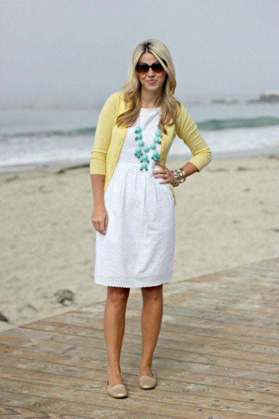 White eyelet dress, yellow cardigan, turquoise necklace - bubble ...