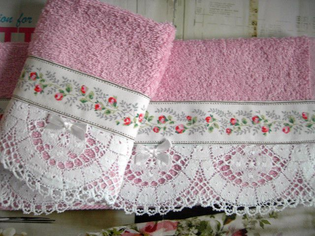 2 Face Cloths Handmade Trim Cath Kidston Pink Roses Cluny