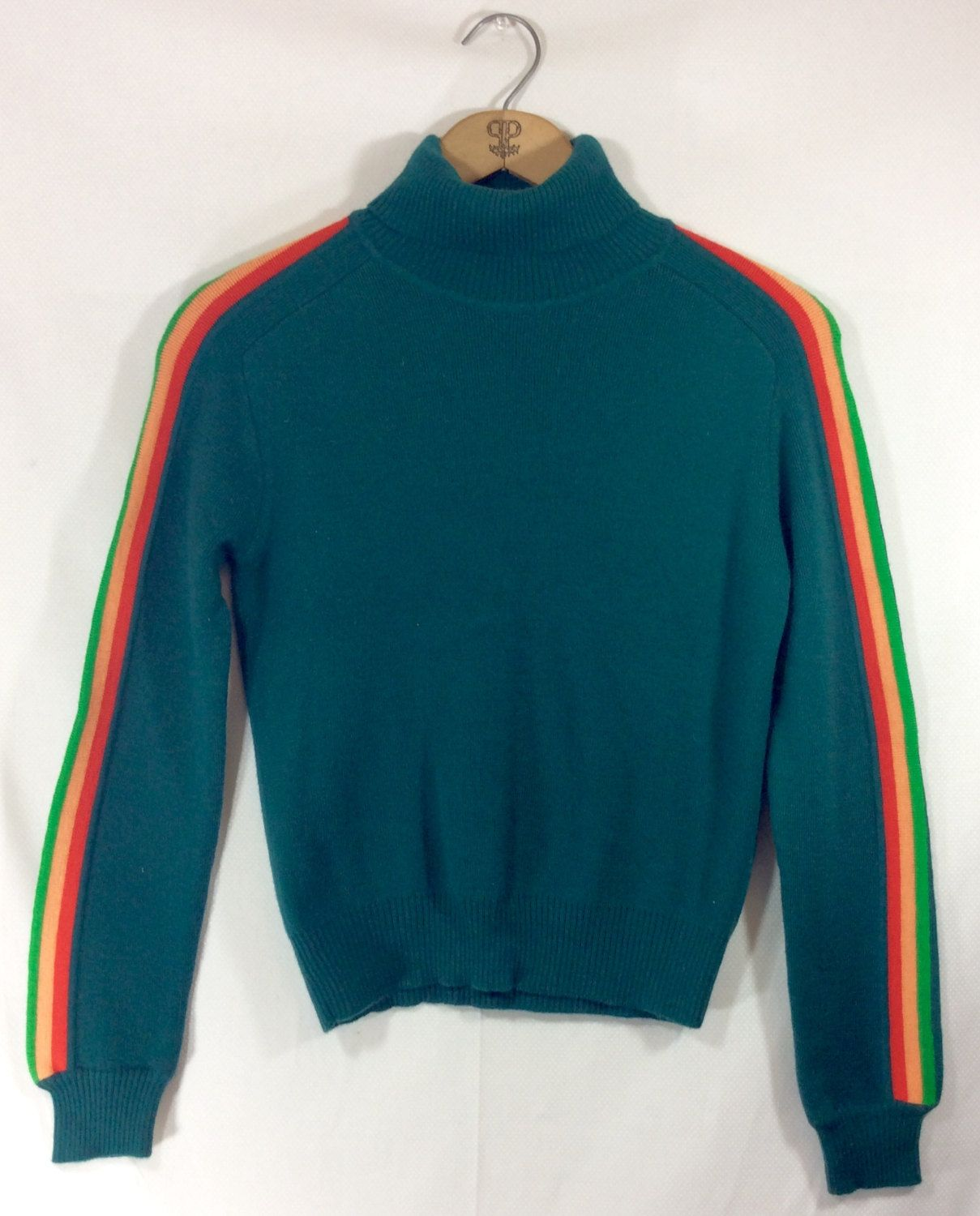 Womens Vintage Green Turtleneck Sweater with Rainbow Stripe ...