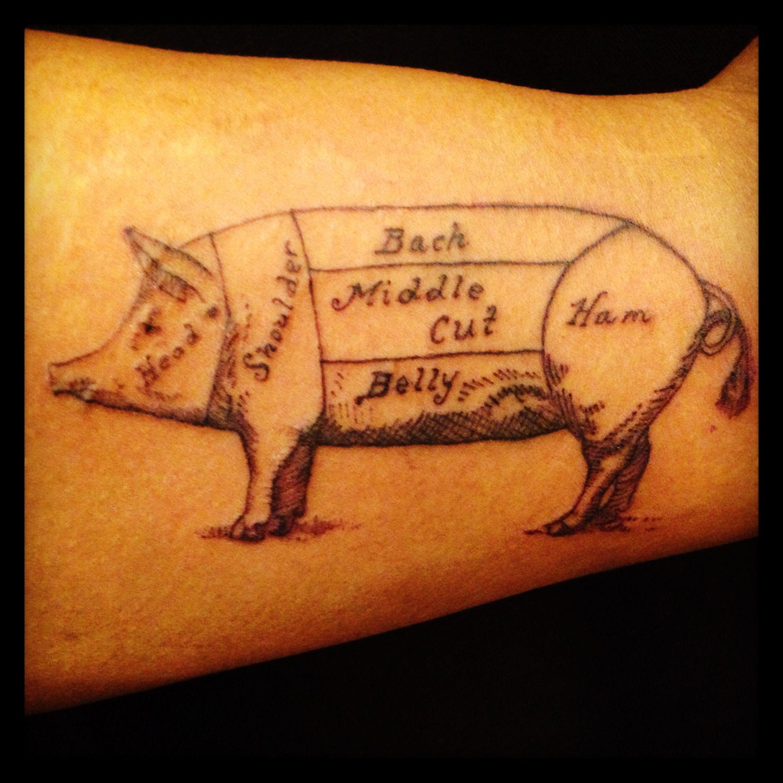 Brucius tattoo etching. Pig