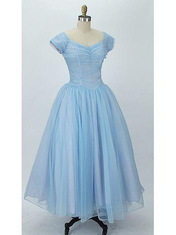50s Blue Nylon Chiffon Ballerina Length Wedding/Prom Dress ...