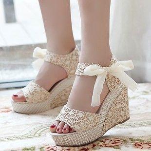 sandales de mariée compensée hauts talons