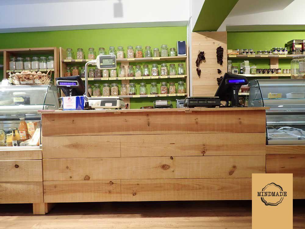 Mostrador de Madera de Pino Natural para tienda ecológica en ...