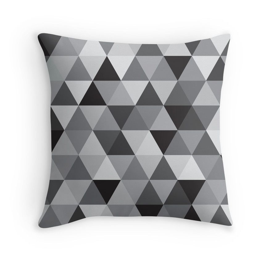 Not Quite 50 Shades of Grey Triangles Throw Pillows