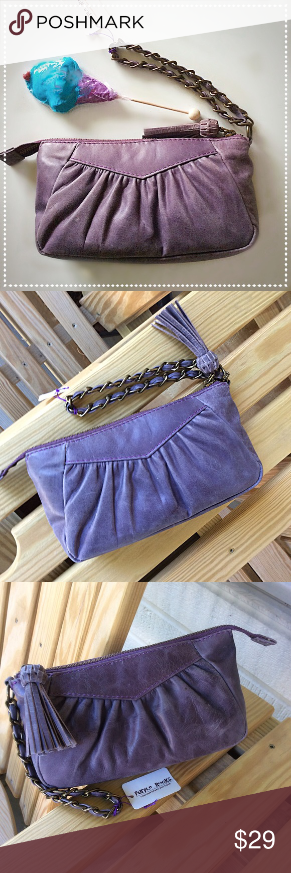 Distressed Purple Leather Clutch/Wristlet NWT ~ Some small flaws on leather as shown in photos.  Priced accordingly. Boutique Bags Clutches & Wristlets