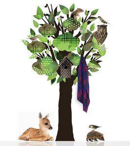 MuurstickerBoom Kinderkamer  Muursticker van Kek Amsterdam, Boom. De Hippe,Groene boom kan ook als kapstok dienen door de bijgeleverde haakjes. De boom zit vol met dieren!Het pakk...