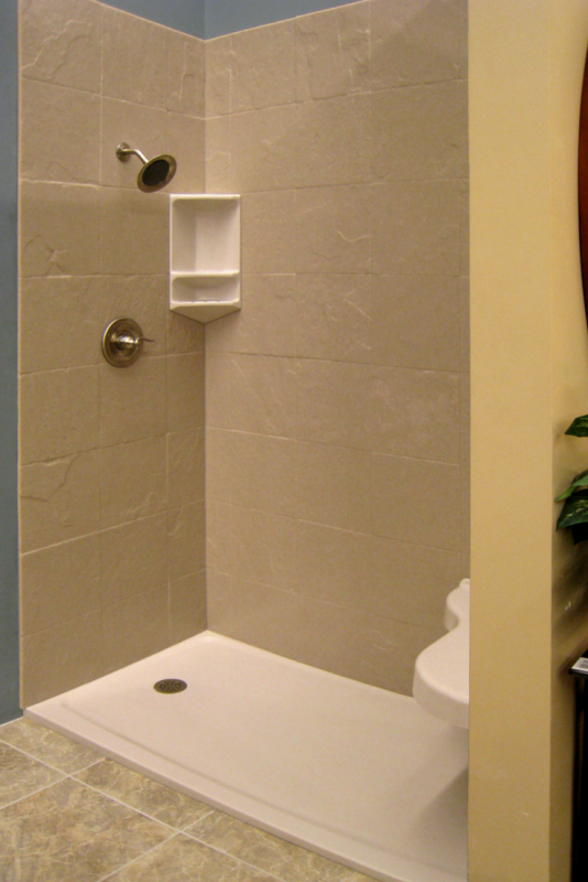 Stone Tile Textured Solid Surface Shower Wall Panels With A Corner Shelf