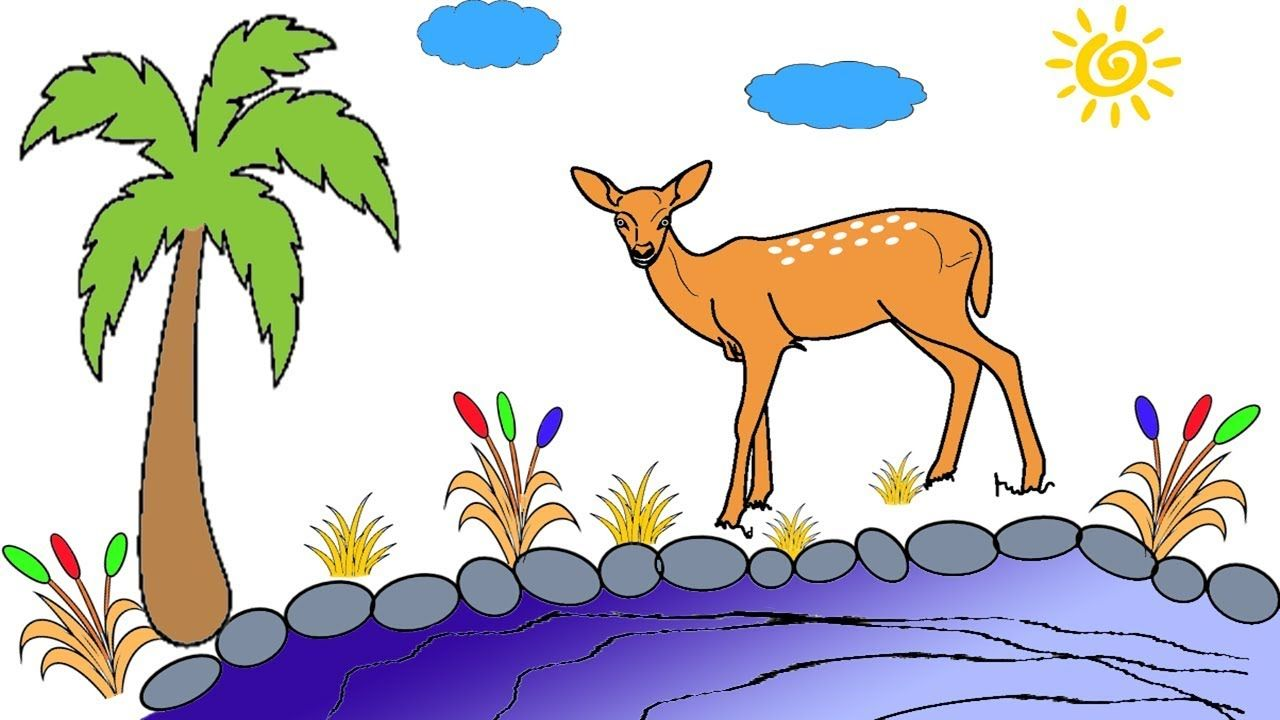 رسم غزال امام البحيرة بطريقة مبسطة وسلة جداا رسم للاطفال Animal Drawings Art Moose Art
