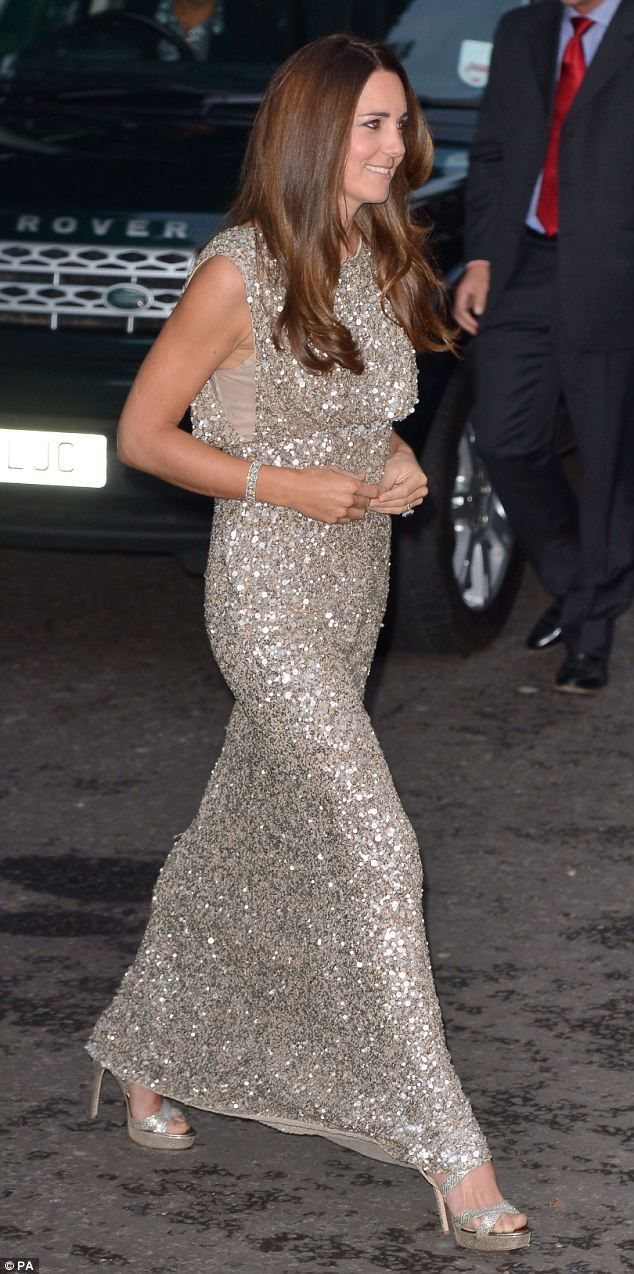 de55510f93258 Duchess of Cambridge glitters in pale gold Jenny Packham sequins ...