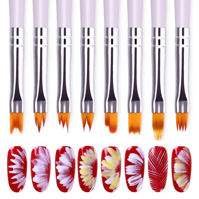 Photo of Gradient acrylic painting brush UV gel flower drawing pen purple handle manicure nail art tool 8 patterns optional
