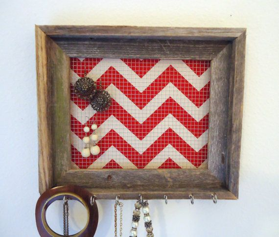 Jewelry Holder Organizer Frame Chevron Distressed by TheHopeStack, $35.00