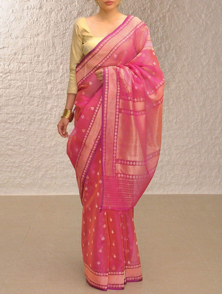 Buy Pink-Gold Handloom Benarasi Kora Saree by Ekaya Online