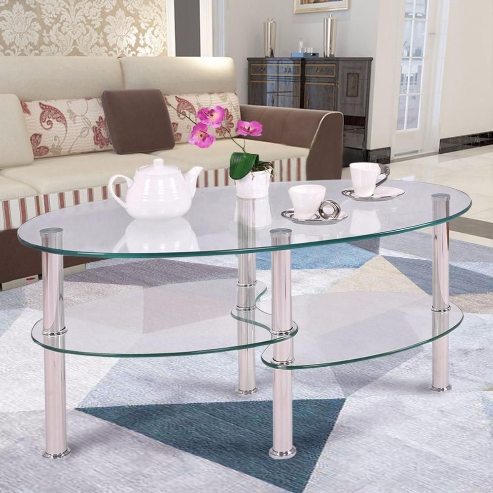 Goplus Tempered Glass Oval Side Coffee Table Shelf Chrome Base Living Room Clear Black Modern C Coffee Table Living Room Coffee Table Coffee Table With Storage [ 1000 x 1000 Pixel ]