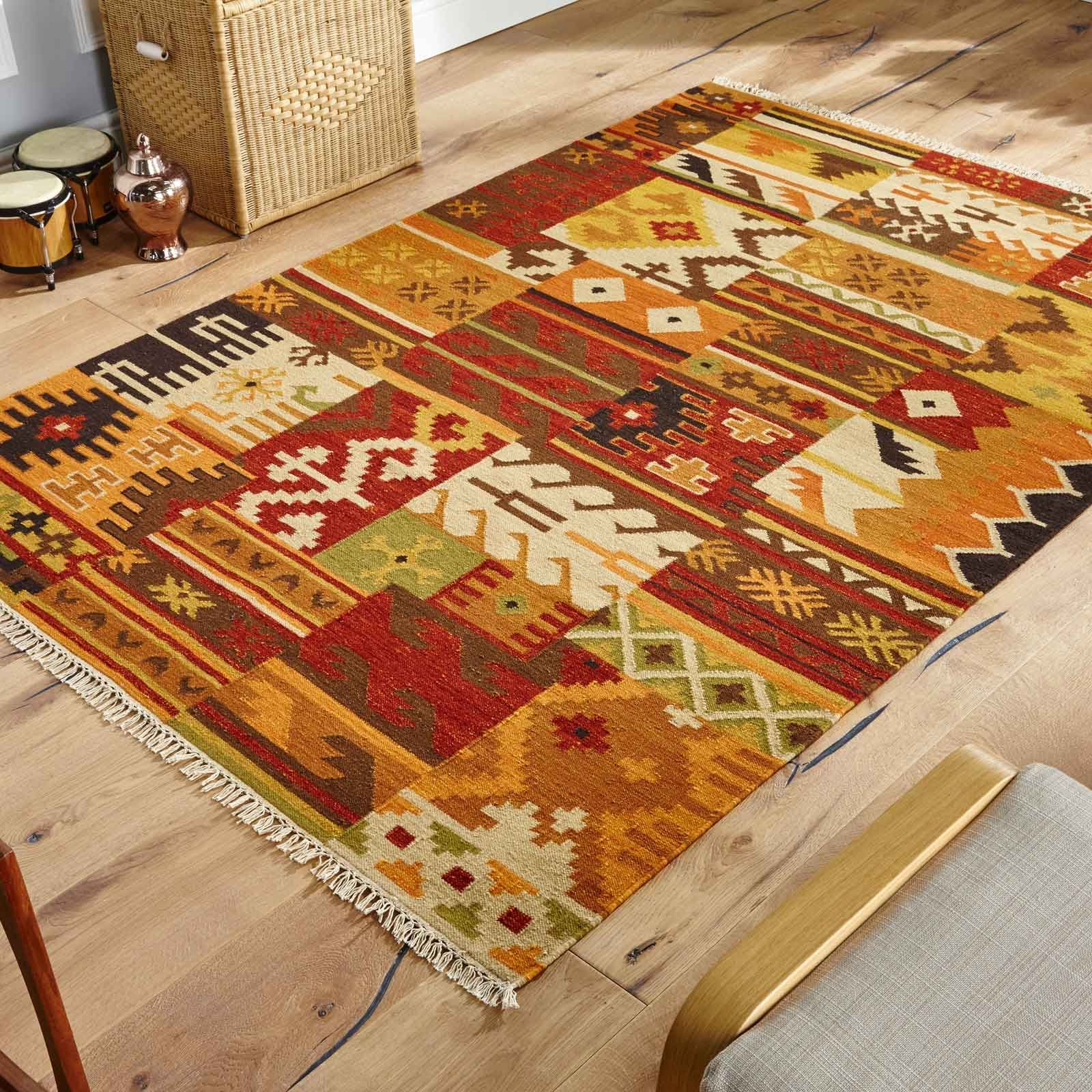 Kilim Rugs Are Made By Interweaving The Warp And Weft To Offer A Flatwoven Rug
