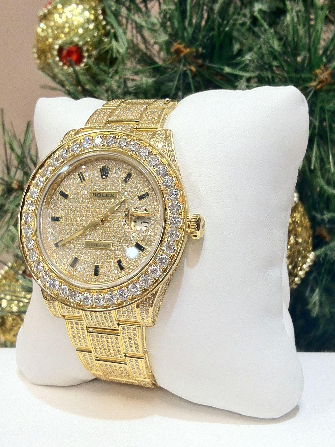 Custom designed 1300ctw authentic rolex datejust diamond