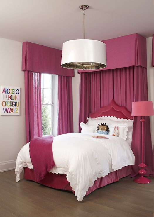 Adorable Girl S Room Features Hot Pink Valance With Matching Hot Pink Curtains Framing Red Velvet Bed Dre Hot Pink Bedrooms Pink Bedroom Curtains Pink Curtains