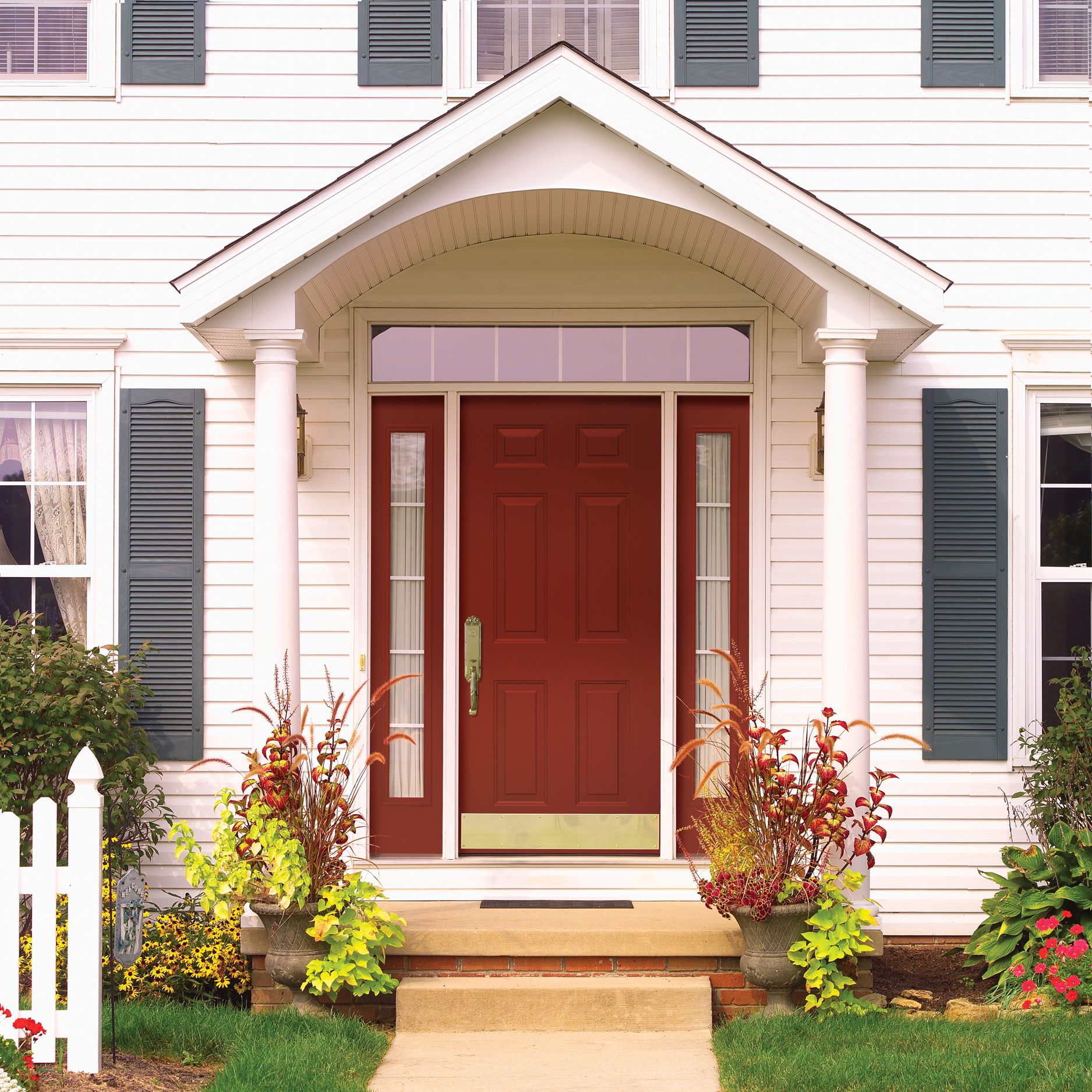 Traditional farmhouse exterior colors exterior traditional with metal - Provia Legacy Mountain Berry Red Traditional Farmhouse Style Steel Front Entry Door