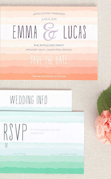 Ruffled ombre invitations