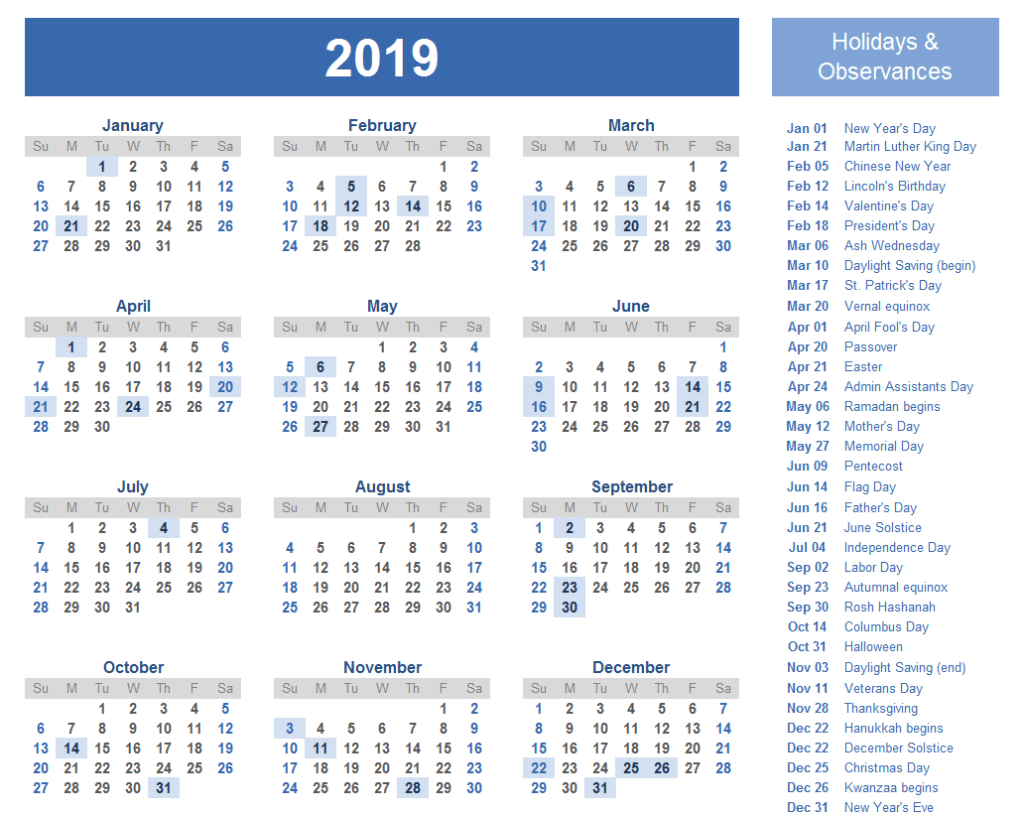 2019 International Holiday Calendar List 2019 Holiday Calendar