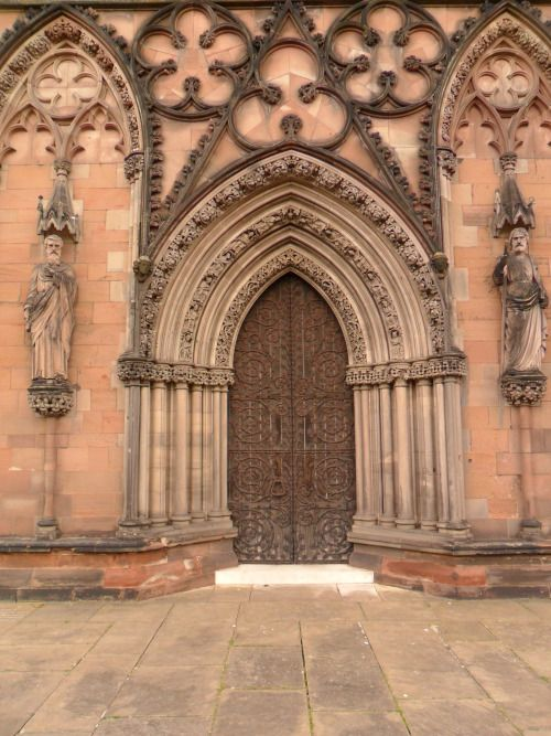 Ornate Stone Doorway, Lichfield Cathedral, Lichfield, Staffordshire, England.