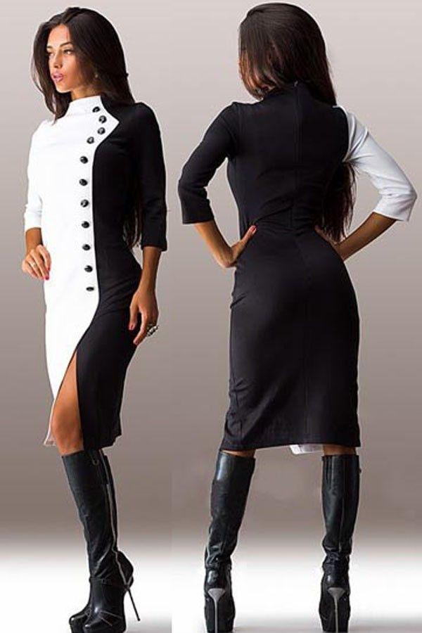 f460b2e4a4fd ELEGANTNÉ ŠATY EUDORA čierno-biele - Šaty