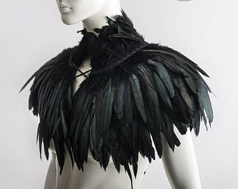 c416c2de901 Feather capelet with high collar or feather shoulder wrap shrug ...