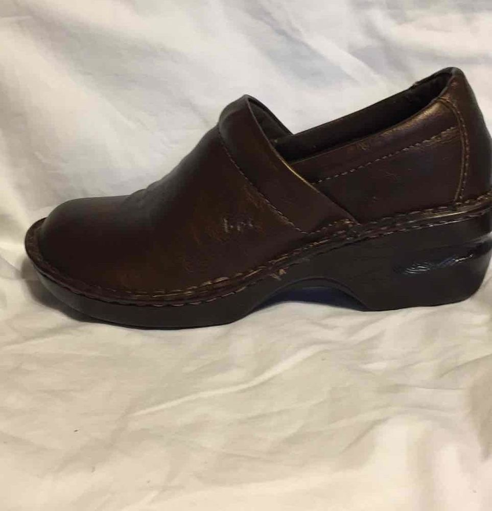 "Born Concepts Comfort Leather Shoes 6M Brown 2"" Heel Normal Wear Good"