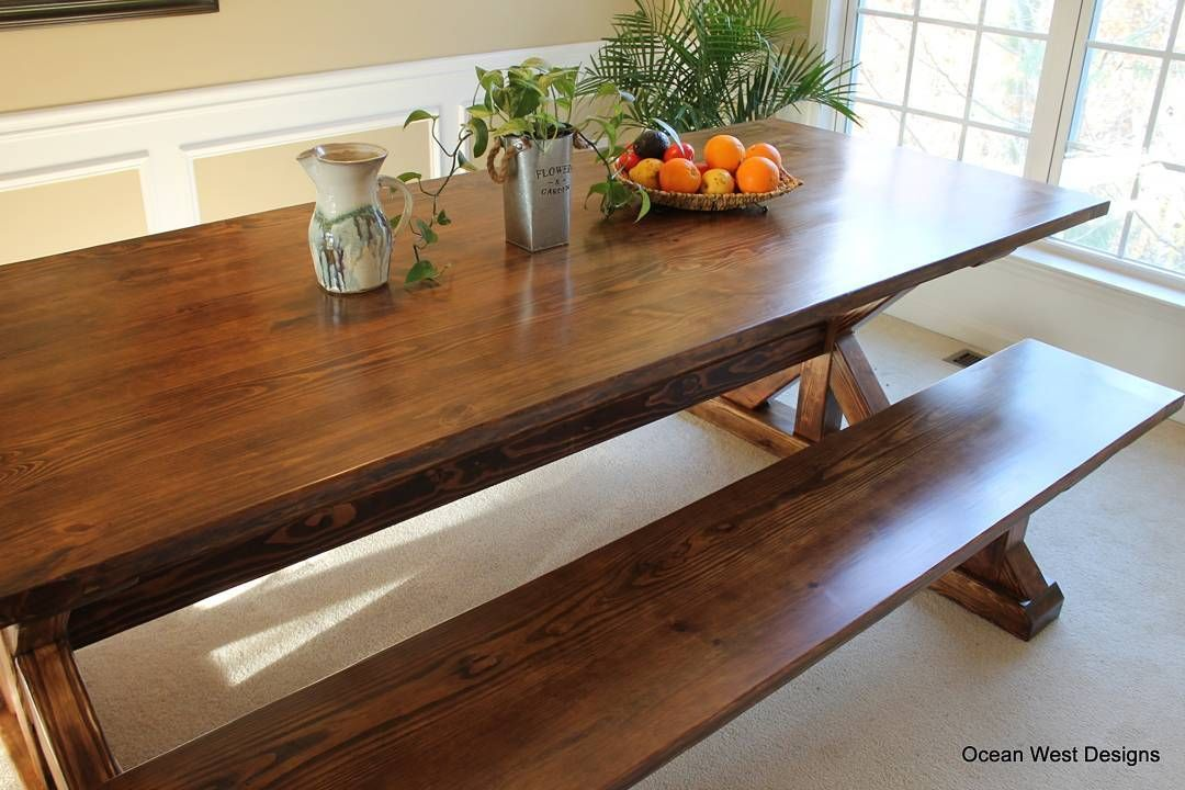 This 8 Ft Farmhouse Trestle Table And Matching Bench Is Completed Ready To Be Delivered
