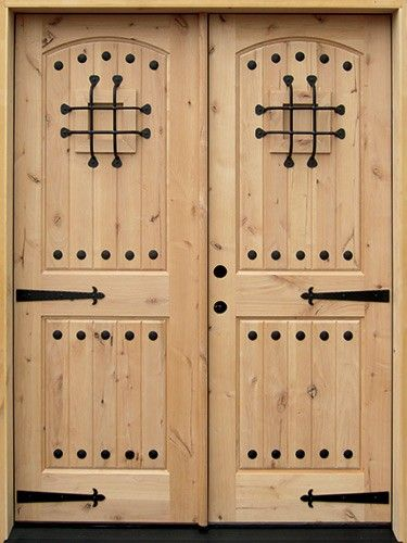 Unfinished knotty alder double entry doors with the works! Clavos straps v-  sc 1 st  Pinterest & Unfinished knotty alder double entry doors with the works! Clavos ...