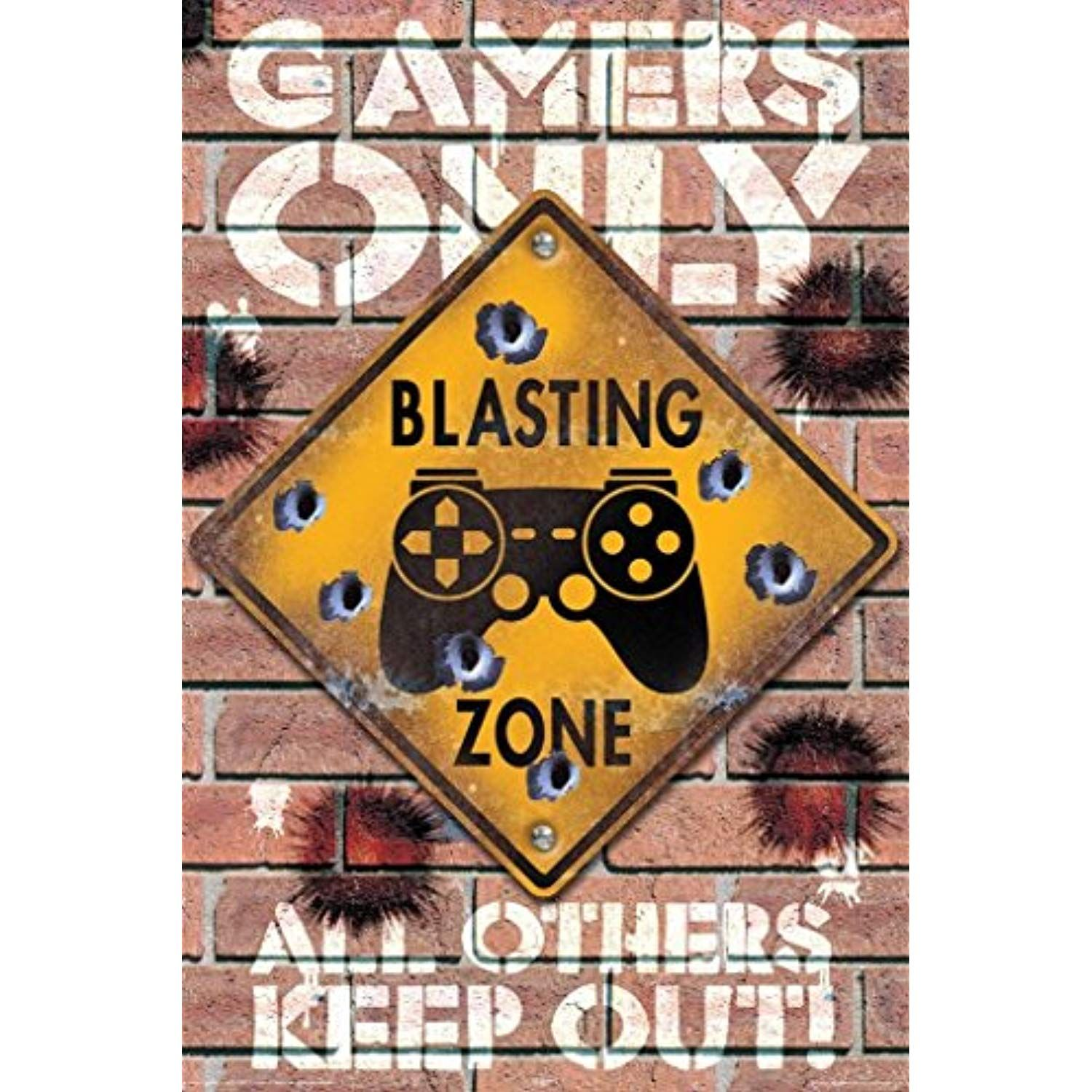 Blasting Zone Gamers Only Video Gaming Poster 24x36 inch