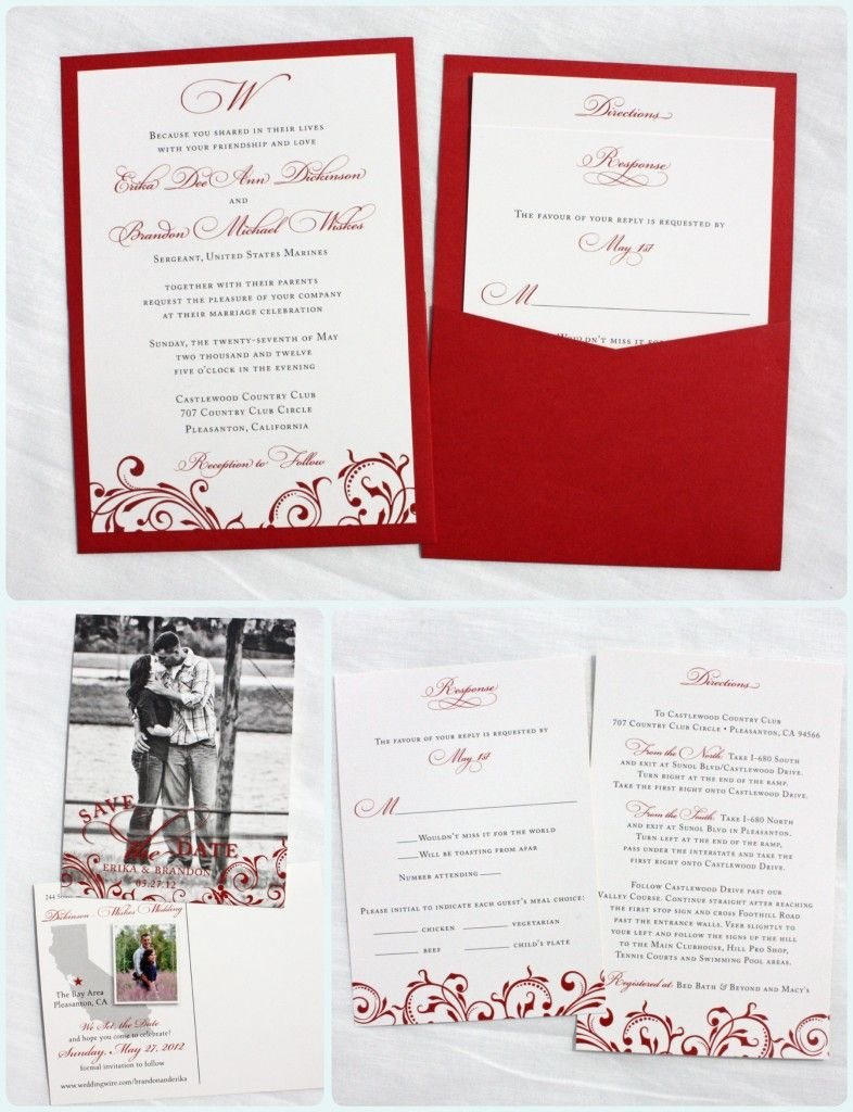 Red Vintage Scroll with Dots Clutch Pocket Wedding Invitations and ...