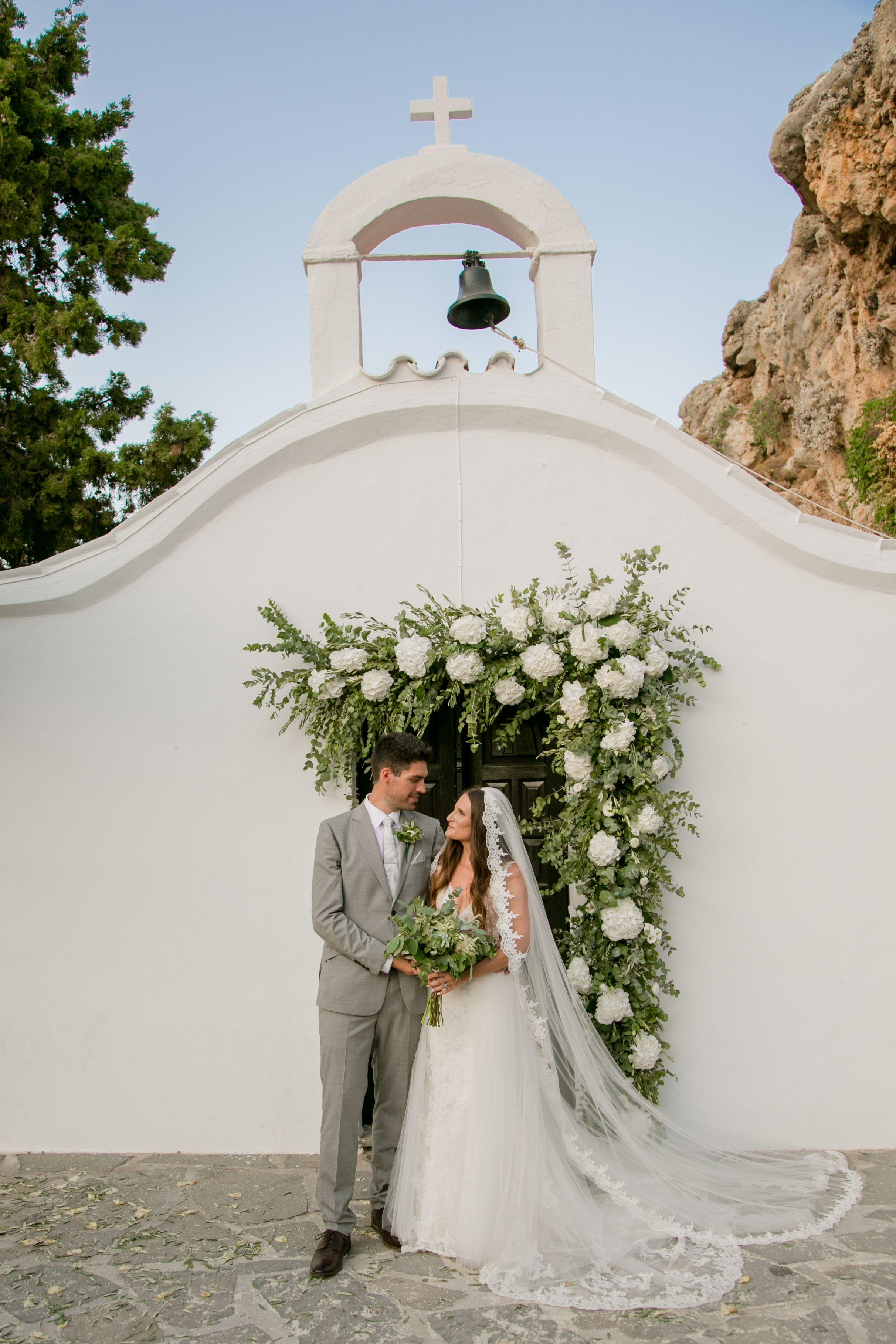 Greek summer wedding, St. Paul\'s church in Lindos Rhodes, Greek ...