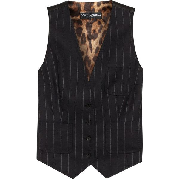 Dolce & Gabbana Pinstripe wool and silk-blend waistcoat (18.500 RUB) ❤ liked on Polyvore featuring outerwear, vests, vest, waistcoat, vest waistcoat, wool vest, dolce&gabbana, wool waistcoat and woolen vest