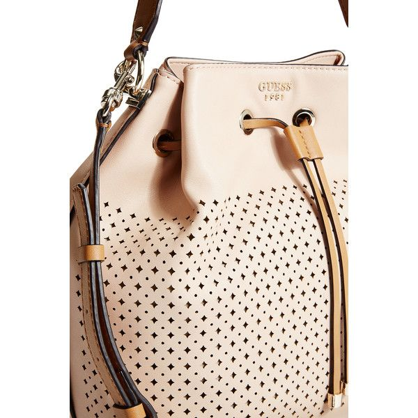 GUESS Juliana Perforated Bucket Bag ($145) ❤ liked on Polyvore featuring bags, handbags, nude, perforated handbag, nude handbags, nude purses, perforated bucket bag and pink handbags