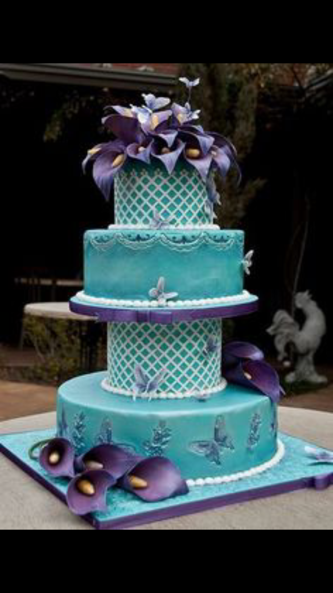 purple teal wedding cake Wedding Pinterest