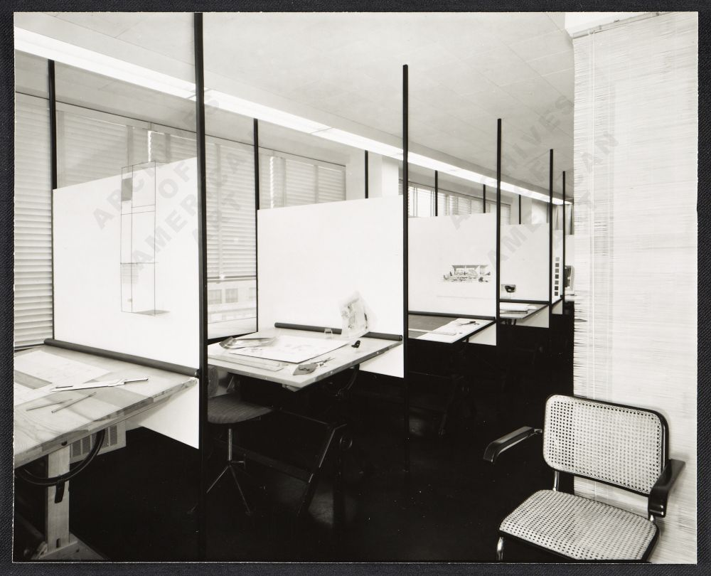 The Planning Unit At The Knoll Showroom Nueva York 1951 Archives Of American Art Office Interior Design Florence Knoll