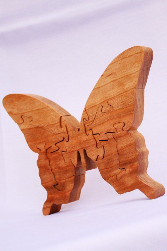 Butterfly wooden animal puzzle by woodencreations on Etsy, $25.00